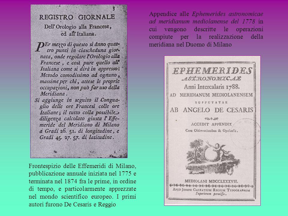 Frontespizio delle Effemeridi di Milano, pubblicazione annuale iniziata nel 1775 e terminata nel 1874 fra le prime, in ordine di tempo, e particolarme