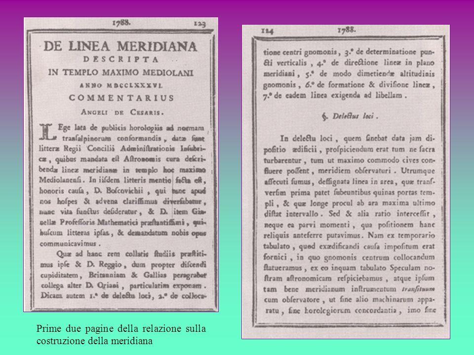 Prime due pagine della relazione sulla costruzione della meridiana