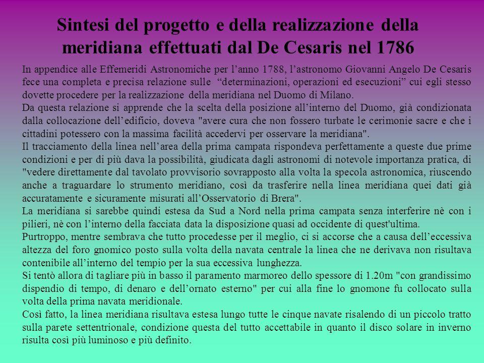 In appendice alle Effemeridi Astronomiche per lanno 1788, lastronomo Giovanni Angelo De Cesaris fece una completa e precisa relazione sulle determinaz