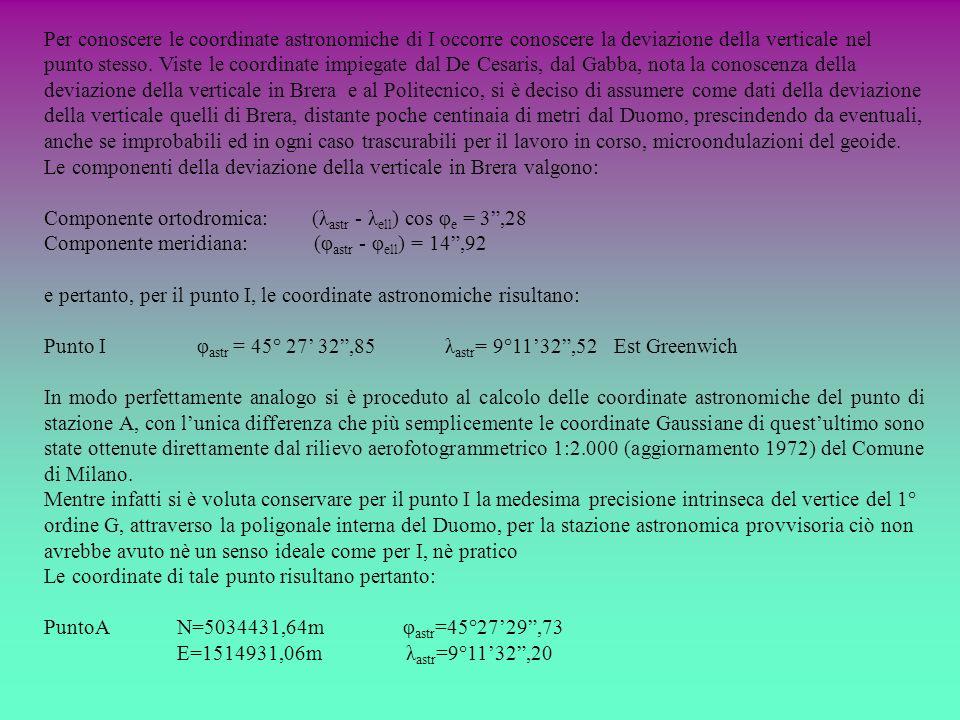 Per conoscere le coordinate astronomiche di I occorre conoscere la deviazione della verticale nel punto stesso. Viste le coordinate impiegate dal De C