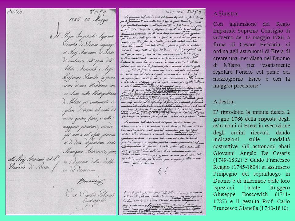 A Sinistra: Con ingiunzione del Regio Imperiale Supremo Consiglio di Governo del 12 maggio 1786, a firma di Cesare Beccaria, si ordina agli astronomi