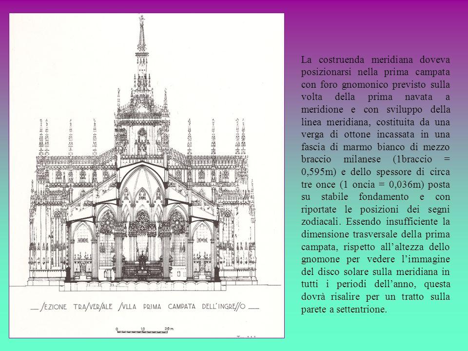 La costruenda meridiana doveva posizionarsi nella prima campata con foro gnomonico previsto sulla volta della prima navata a meridione e con sviluppo