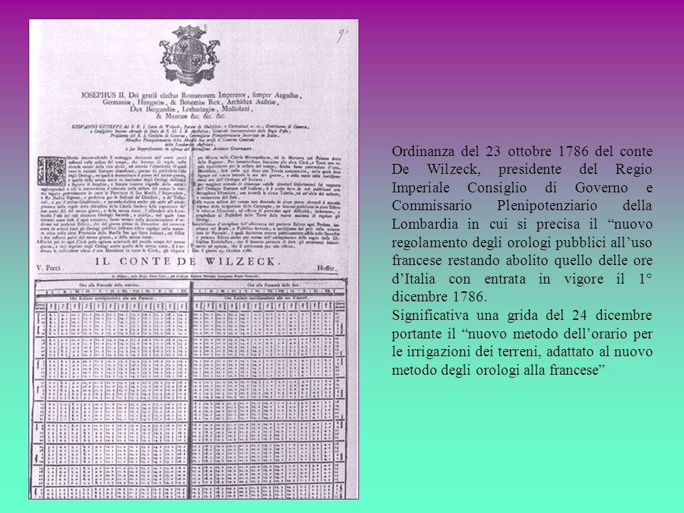 Ordinanza del 23 ottobre 1786 del conte De Wilzeck, presidente del Regio Imperiale Consiglio di Governo e Commissario Plenipotenziario della Lombardia
