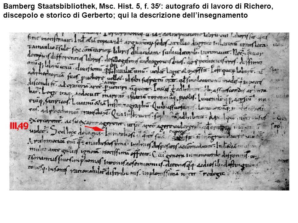 Bamberg Staatsbibliothek, Msc. Hist. 5, f. 35 r : autografo di lavoro di Richero, discepolo e storico di Gerberto; qui la descrizione dellinsegnamento