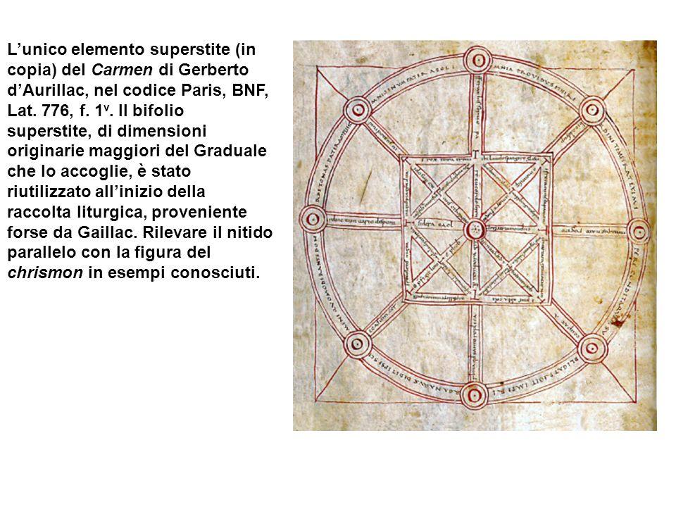 Lunico elemento superstite (in copia) del Carmen di Gerberto dAurillac, nel codice Paris, BNF, Lat. 776, f. 1 v. Il bifolio superstite, di dimensioni