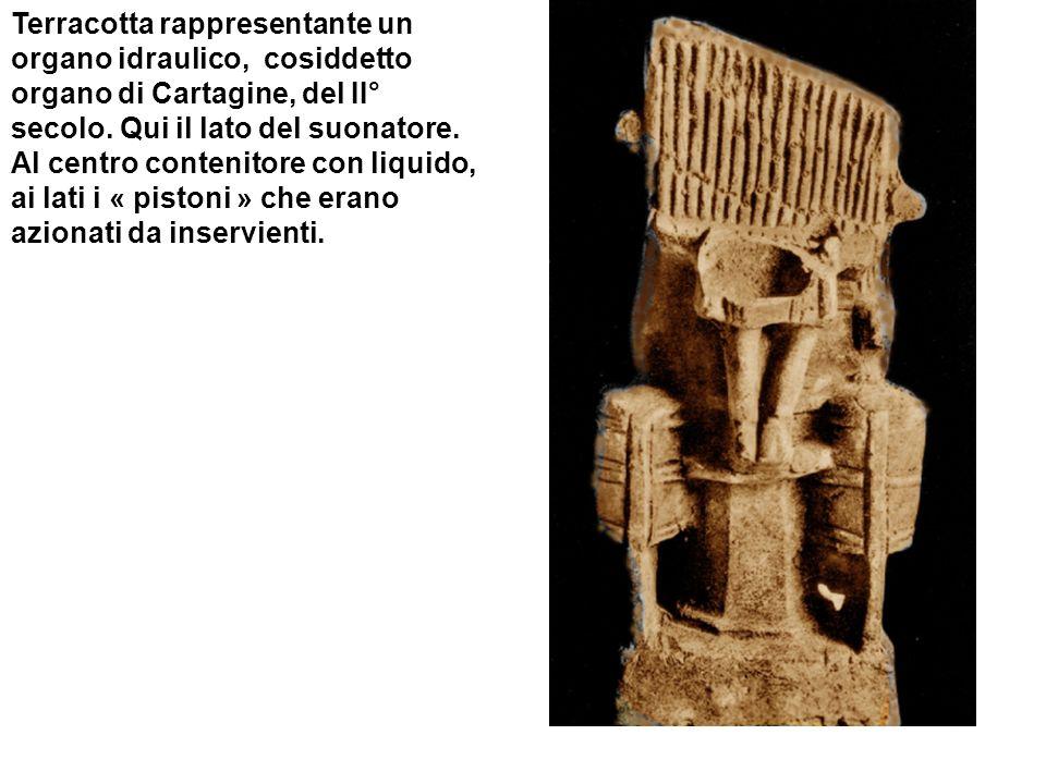 Terracotta rappresentante un organo idraulico, cosiddetto organo di Cartagine, del II° secolo. Qui il lato del suonatore. Al centro contenitore con li