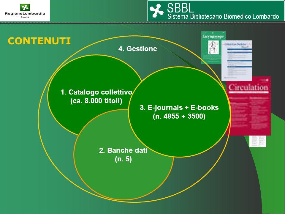 1. Catalogo collettivo (ca. 8.000 titoli) 2. Banche dati (n. 5) 3. E-journals + E-books (n. 4855 + 3500) 4. Gestione CONTENUTI