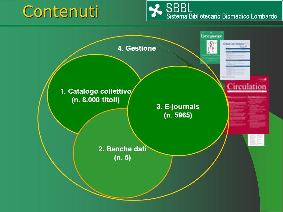 1. Catalogo collettivo (n. 8.000 titoli) 2. Banche dati (n. 5) 3. E-journals (n. 5965) Contenuti Contenuti 4. Gestione