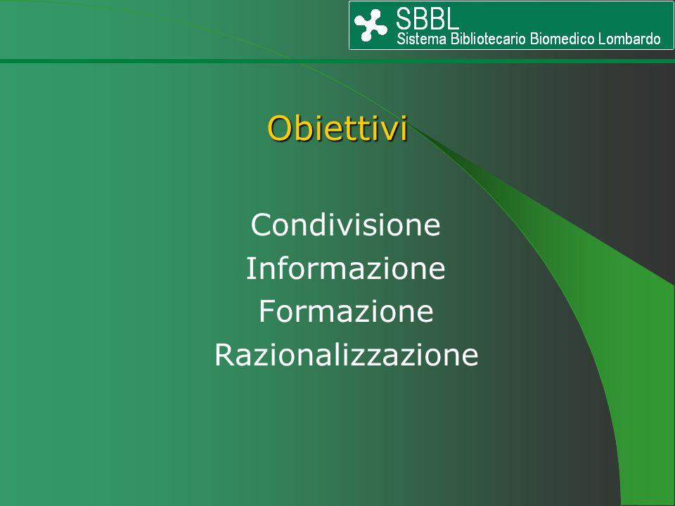Condivisione Informazione Formazione Razionalizzazione Obiettivi