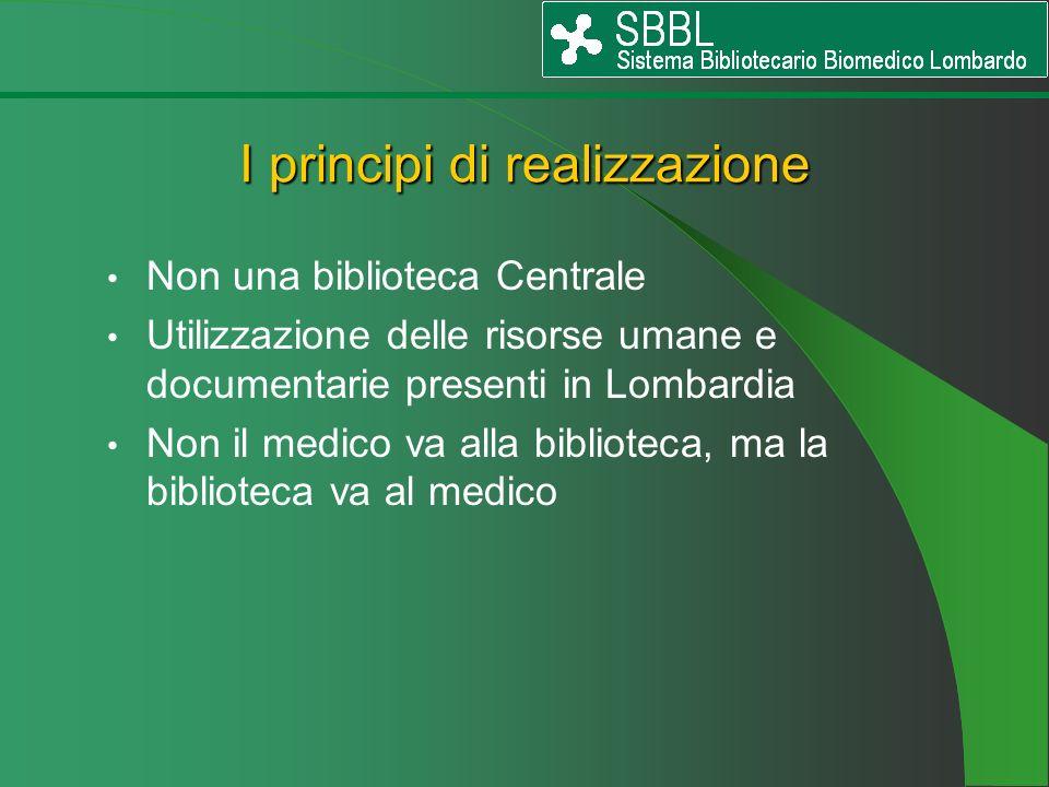 Non una biblioteca Centrale Utilizzazione delle risorse umane e documentarie presenti in Lombardia Non il medico va alla biblioteca, ma la biblioteca