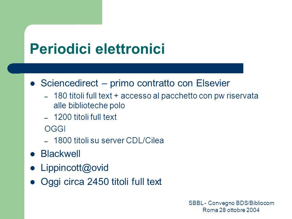 SBBL - Convegno BDS/Bibliocom Roma 28 ottobre 2004 Periodici elettronici Sciencedirect – primo contratto con Elsevier – 180 titoli full text + accesso