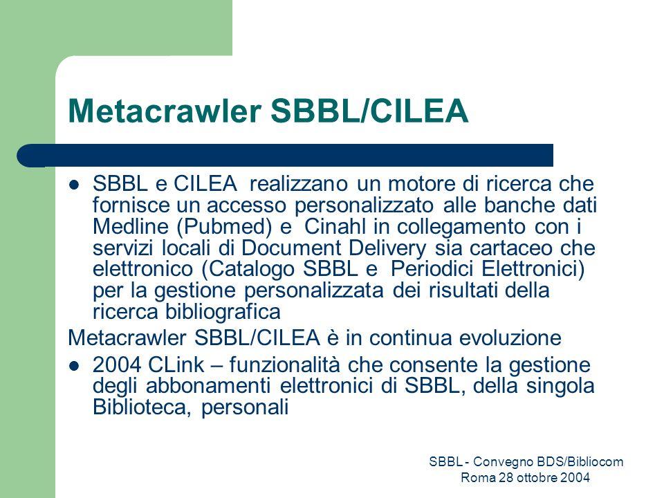 SBBL - Convegno BDS/Bibliocom Roma 28 ottobre 2004 Metacrawler SBBL/CILEA SBBL e CILEA realizzano un motore di ricerca che fornisce un accesso persona