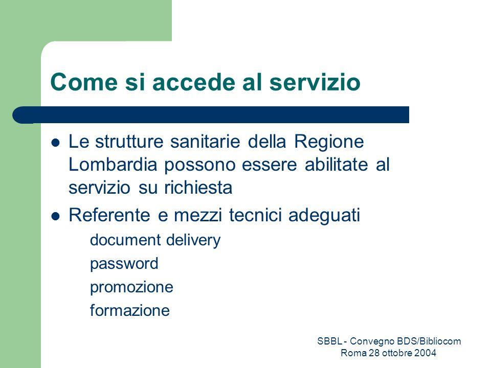 SBBL - Convegno BDS/Bibliocom Roma 28 ottobre 2004 Come si accede al servizio Le strutture sanitarie della Regione Lombardia possono essere abilitate