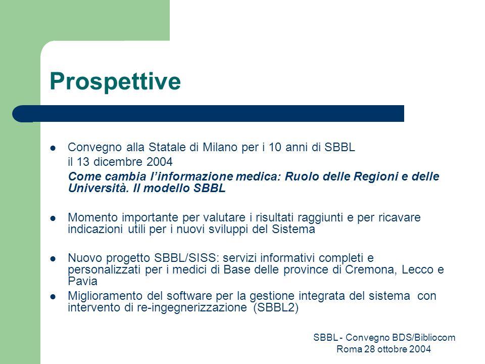Prospettive Convegno alla Statale di Milano per i 10 anni di SBBL il 13 dicembre 2004 Come cambia linformazione medica: Ruolo delle Regioni e delle Un