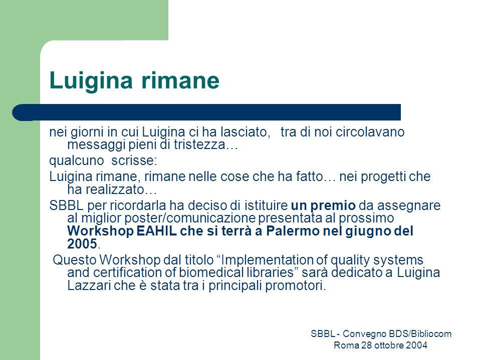 SBBL - Convegno BDS/Bibliocom Roma 28 ottobre 2004 Luigina rimane nei giorni in cui Luigina ci ha lasciato, tra di noi circolavano messaggi pieni di t