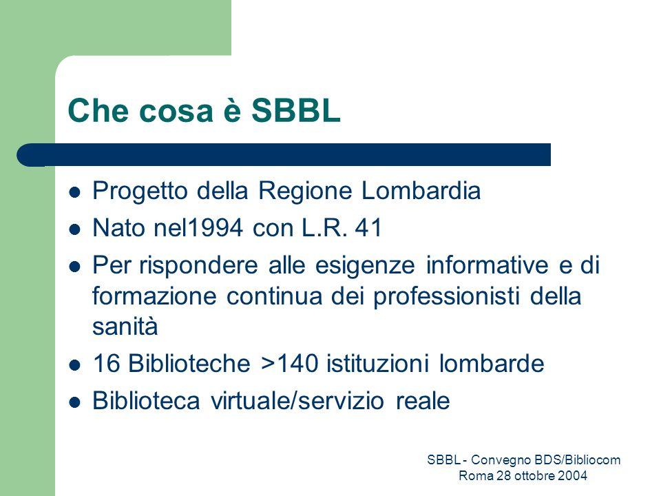 SBBL - Convegno BDS/Bibliocom Roma 28 ottobre 2004 Che cosa è SBBL Progetto della Regione Lombardia Nato nel1994 con L.R. 41 Per rispondere alle esige