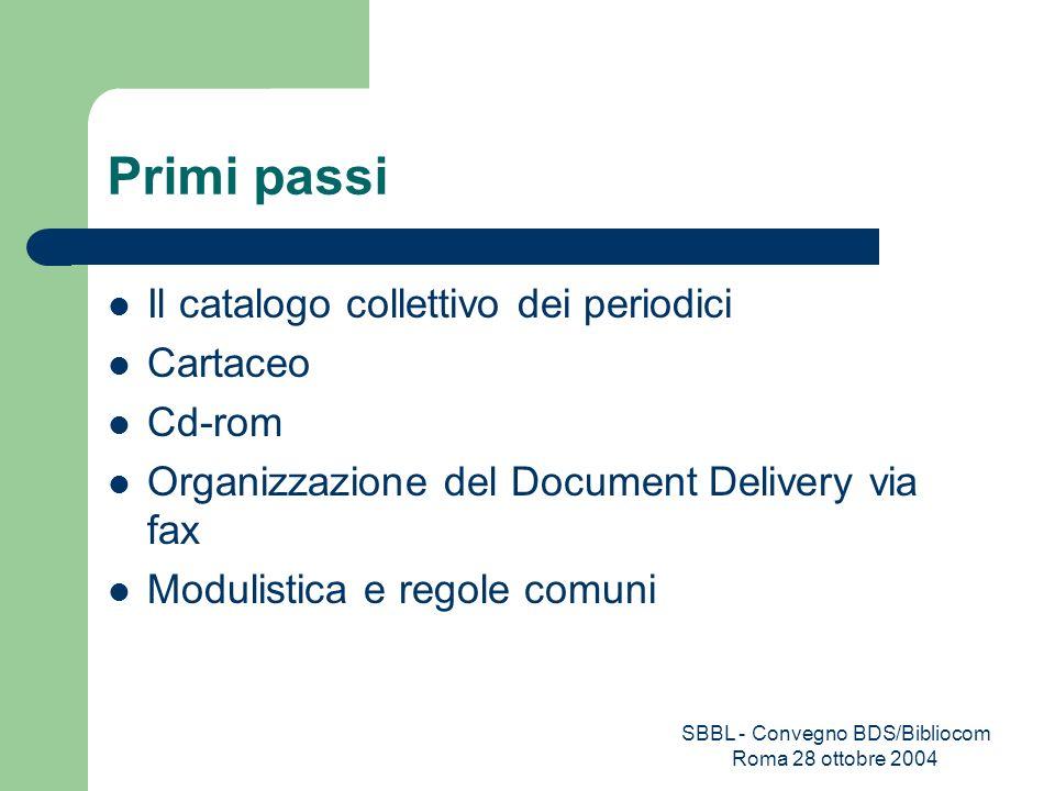 SBBL - Convegno BDS/Bibliocom Roma 28 ottobre 2004 Primi passi Il catalogo collettivo dei periodici Cartaceo Cd-rom Organizzazione del Document Delive