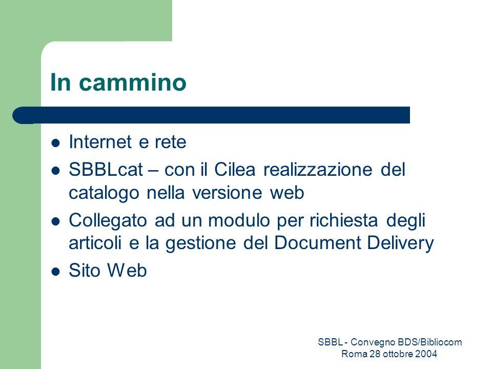 SBBL - Convegno BDS/Bibliocom Roma 28 ottobre 2004 In cammino Internet e rete SBBLcat – con il Cilea realizzazione del catalogo nella versione web Col