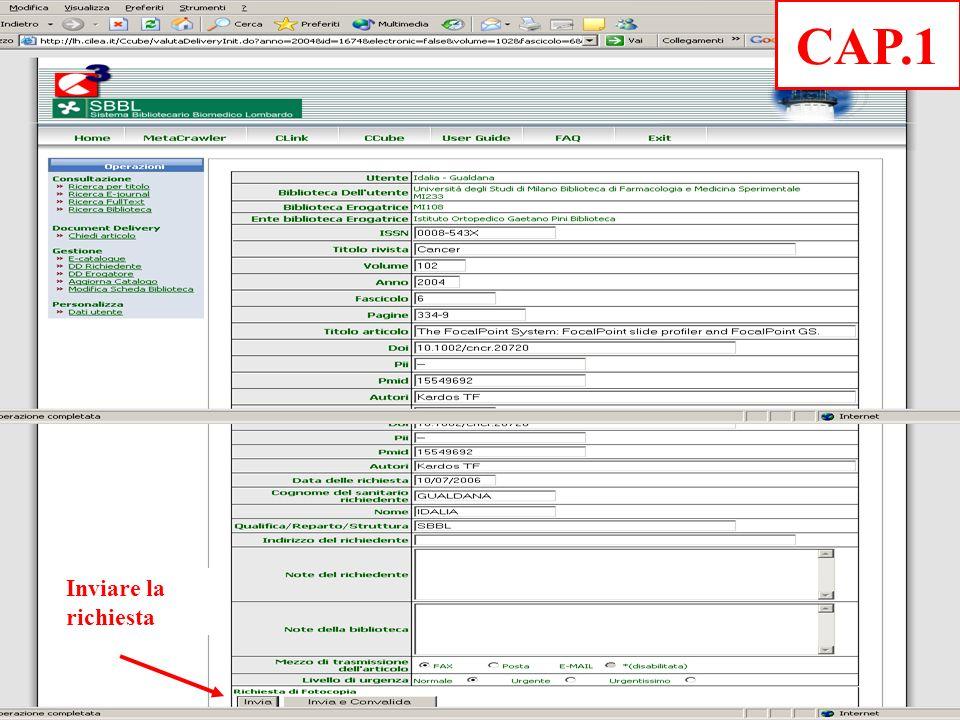 Inviare la richiesta CAP.1