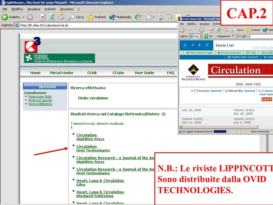 N.B.: Le riviste LIPPINCOTT Sono distribuite dalla OVID TECHNOLOGIES. CAP.2