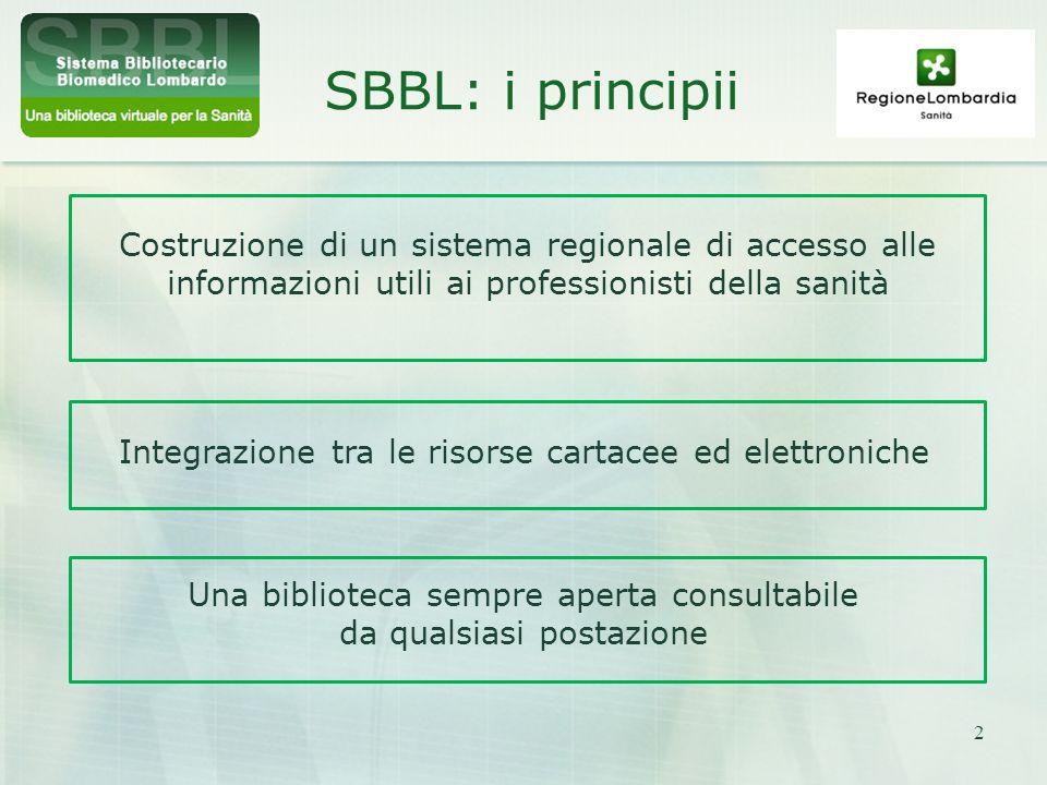 2 SBBL: i principii Costruzione di un sistema regionale di accesso alle informazioni utili ai professionisti della sanità Integrazione tra le risorse