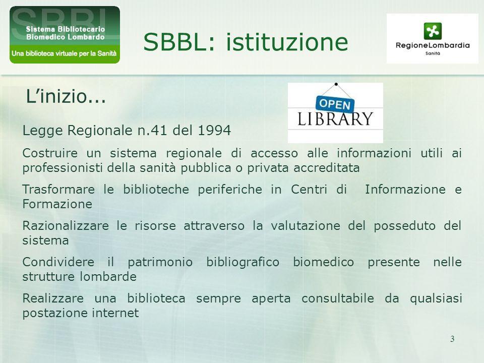 3 SBBL: istituzione Linizio... Legge Regionale n.41 del 1994 Costruire un sistema regionale di accesso alle informazioni utili ai professionisti della