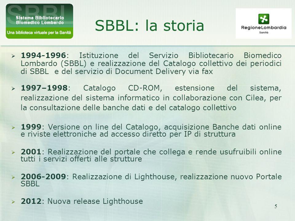 5 SBBL: la storia 1994-1996: Istituzione del Servizio Bibliotecario Biomedico Lombardo (SBBL) e realizzazione del Catalogo collettivo dei periodici di