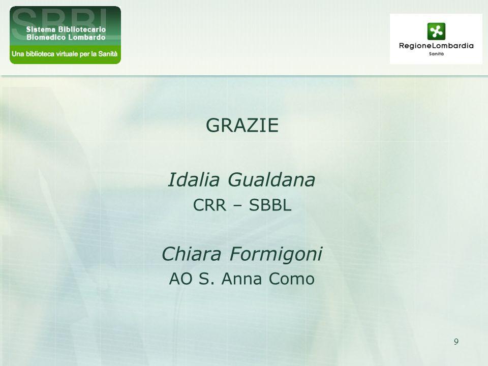 9 GRAZIE Idalia Gualdana CRR – SBBL Chiara Formigoni AO S. Anna Como