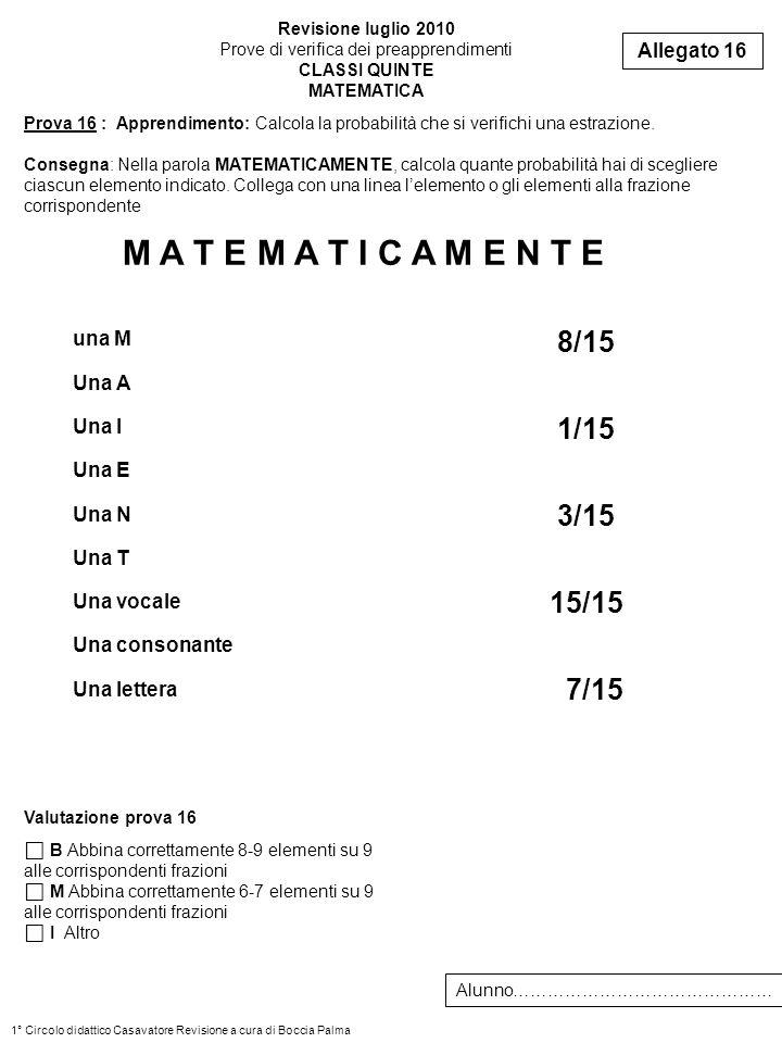 8/15 1/15 3/15 15/15 7/15 Prova 16 : Apprendimento: Calcola la probabilità che si verifichi una estrazione. Consegna: Nella parola MATEMATICAMENTE, ca
