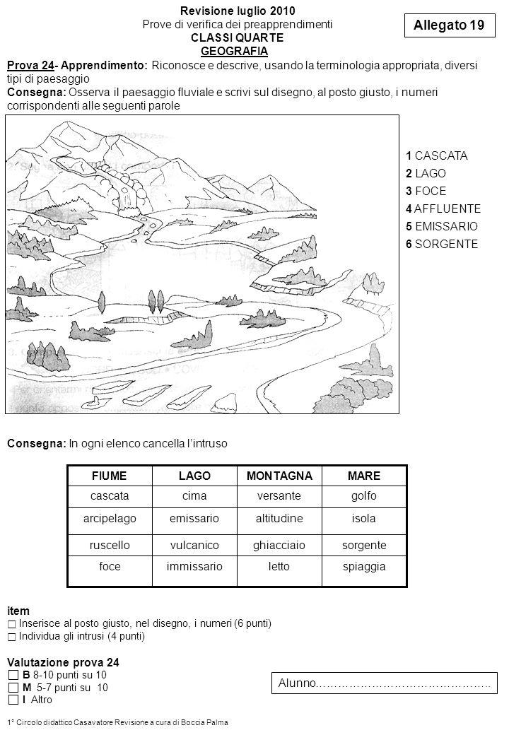 Allegato 19 Revisione luglio 2010 Prove di verifica dei preapprendimenti CLASSI QUARTE Prova 24- Apprendimento: Riconosce e descrive, usando la termin