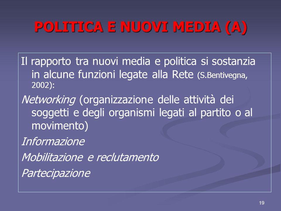 19 POLITICA E NUOVI MEDIA (A) Il rapporto tra nuovi media e politica si sostanzia in alcune funzioni legate alla Rete (S.Bentivegna, 2002): Networking