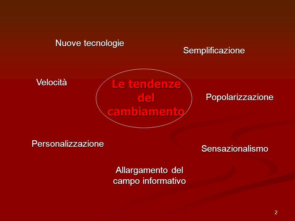 2 Le tendenze del cambiamento Velocità Sensazionalismo Personalizzazione Semplificazione Popolarizzazione Allargamento del campo informativo Nuove tec