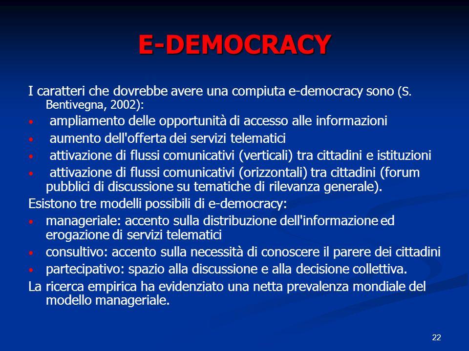 22 E-DEMOCRACY I caratteri che dovrebbe avere una compiuta e-democracy sono (S. Bentivegna, 2002): ampliamento delle opportunità di accesso alle infor