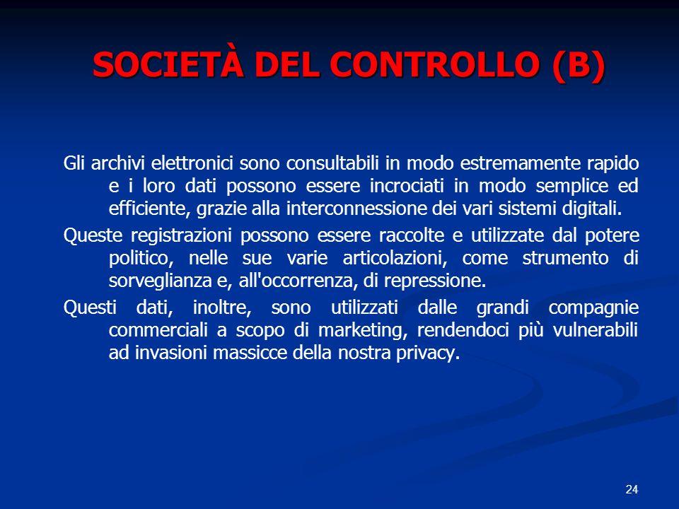 24 SOCIETÀ DEL CONTROLLO (B) Gli archivi elettronici sono consultabili in modo estremamente rapido e i loro dati possono essere incrociati in modo sem