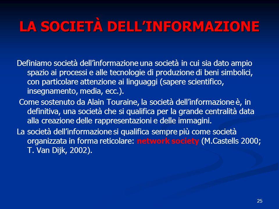 25 LA SOCIETÀ DELLINFORMAZIONE Definiamo società dellinformazione una società in cui sia dato ampio spazio ai processi e alle tecnologie di produzione