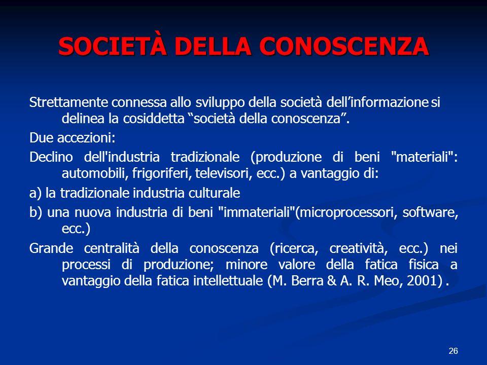 26 SOCIETÀ DELLA CONOSCENZA Strettamente connessa allo sviluppo della società dellinformazione si delinea la cosiddetta società della conoscenza. Due