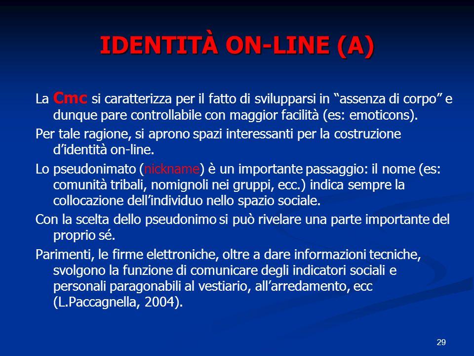 29 IDENTITÀ ON-LINE (A) La Cmc si caratterizza per il fatto di svilupparsi in assenza di corpo e dunque pare controllabile con maggior facilità (es: e
