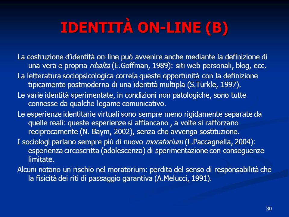 30 IDENTITÀ ON-LINE (B) La costruzione didentità on-line può avvenire anche mediante la definizione di una vera e propria ribalta (E.Goffman, 1989): s