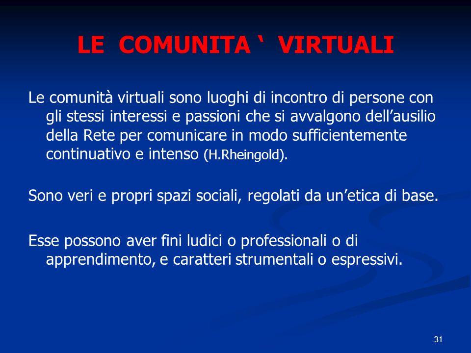 31 LE COMUNITA VIRTUALI Le comunità virtuali sono luoghi di incontro di persone con gli stessi interessi e passioni che si avvalgono dellausilio della