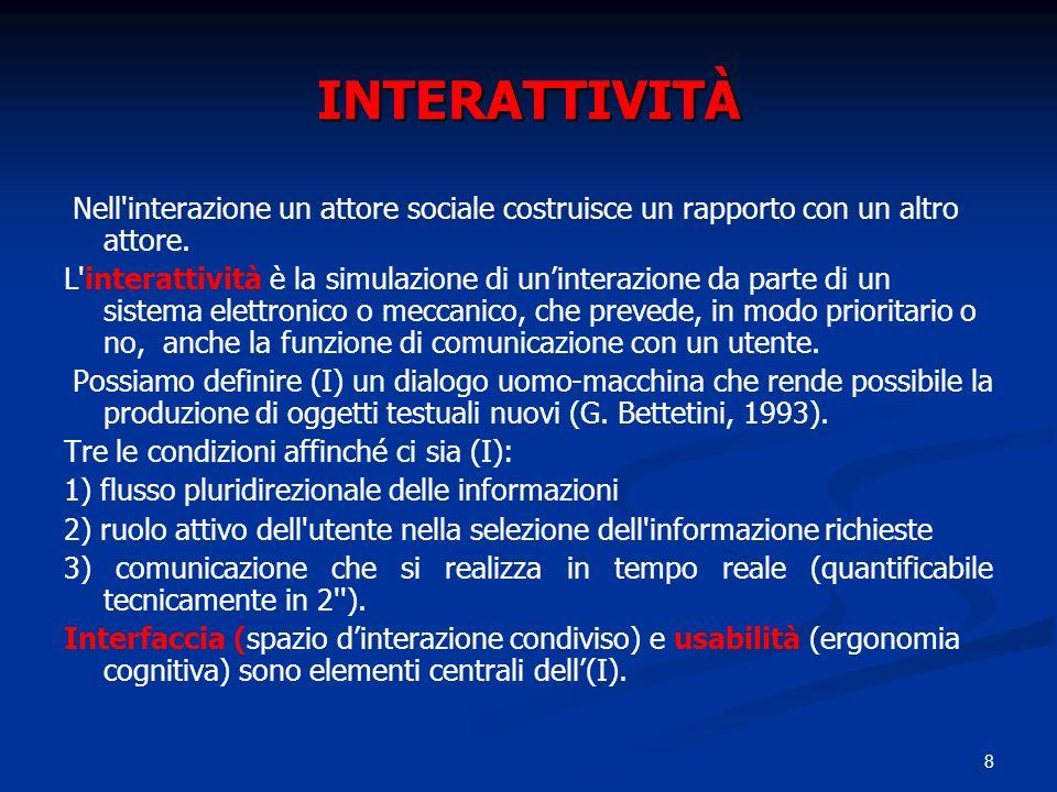 8 INTERATTIVITÀ Nell'interazione un attore sociale costruisce un rapporto con un altro attore. L'interattività è la simulazione di uninterazione da pa