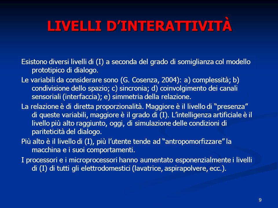 9 LIVELLI DINTERATTIVITÀ Esistono diversi livelli di (I) a seconda del grado di somiglianza col modello prototipico di dialogo. Le variabili da consid
