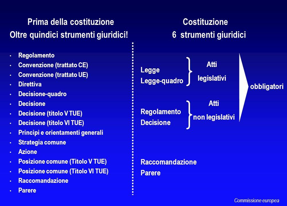 Prima della costituzione Oltre quindici strumenti giuridici! Regolamento Convenzione (trattato CE) Convenzione (trattato UE) Direttiva Decisione-quadr
