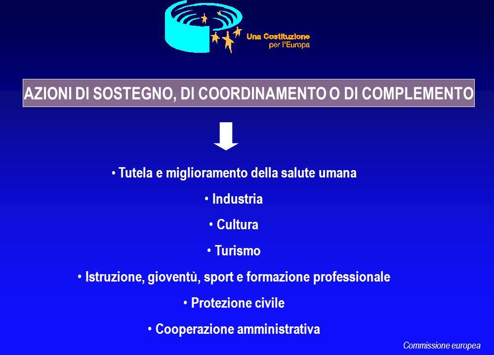 Tutela e miglioramento della salute umana Industria Cultura Turismo Istruzione, gioventù, sport e formazione professionale Protezione civile Cooperazi