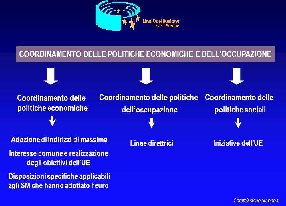 COORDINAMENTO DELLE POLITICHE ECONOMICHE E DELLOCCUPAZIONE Coordinamento delle politiche economiche Adozione di indirizzi di massima Interesse comune