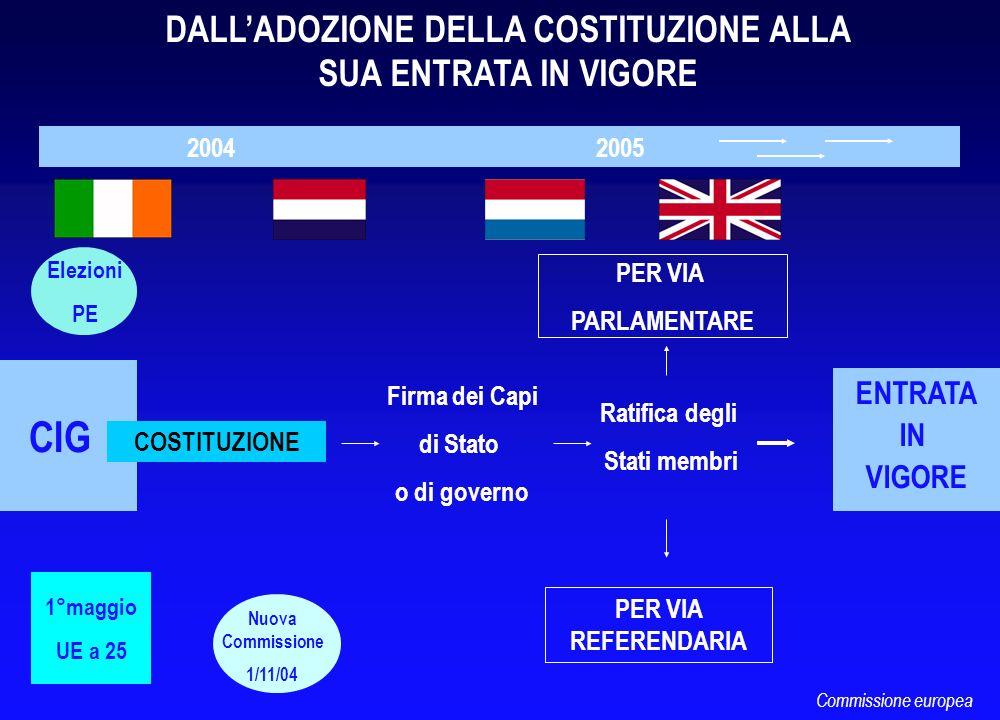 CIG 2004 2005 COSTITUZIONE DALLADOZIONE DELLA COSTITUZIONE ALLA SUA ENTRATA IN VIGORE Elezioni PE Nuova Commissione 1/11/04 Ratifica degli Stati membr