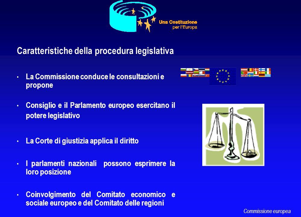 Caratteristiche della procedura legislativa La Commissione conduce le consultazioni e propone Consiglio e il Parlamento europeo esercitano il potere l