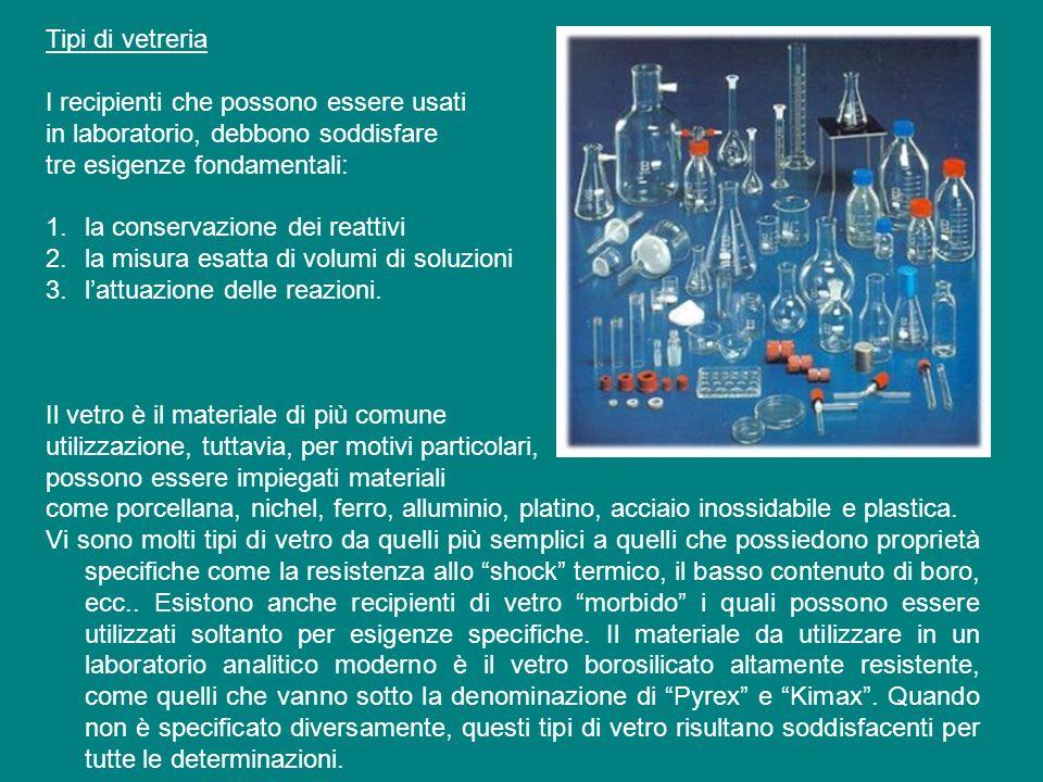 Tipi di vetreria I recipienti che possono essere usati in laboratorio, debbono soddisfare tre esigenze fondamentali: 1.la conservazione dei reattivi 2.la misura esatta di volumi di soluzioni 3.lattuazione delle reazioni.