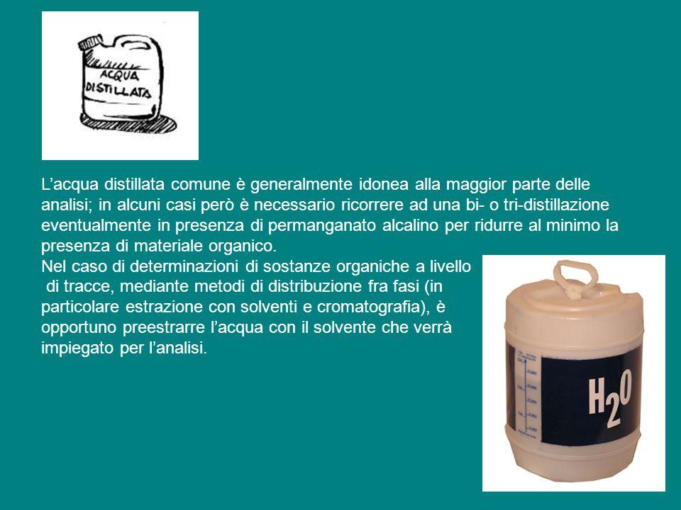 Lacqua distillata comune è generalmente idonea alla maggior parte delle analisi; in alcuni casi però è necessario ricorrere ad una bi- o tri-distillazione eventualmente in presenza di permanganato alcalino per ridurre al minimo la presenza di materiale organico.