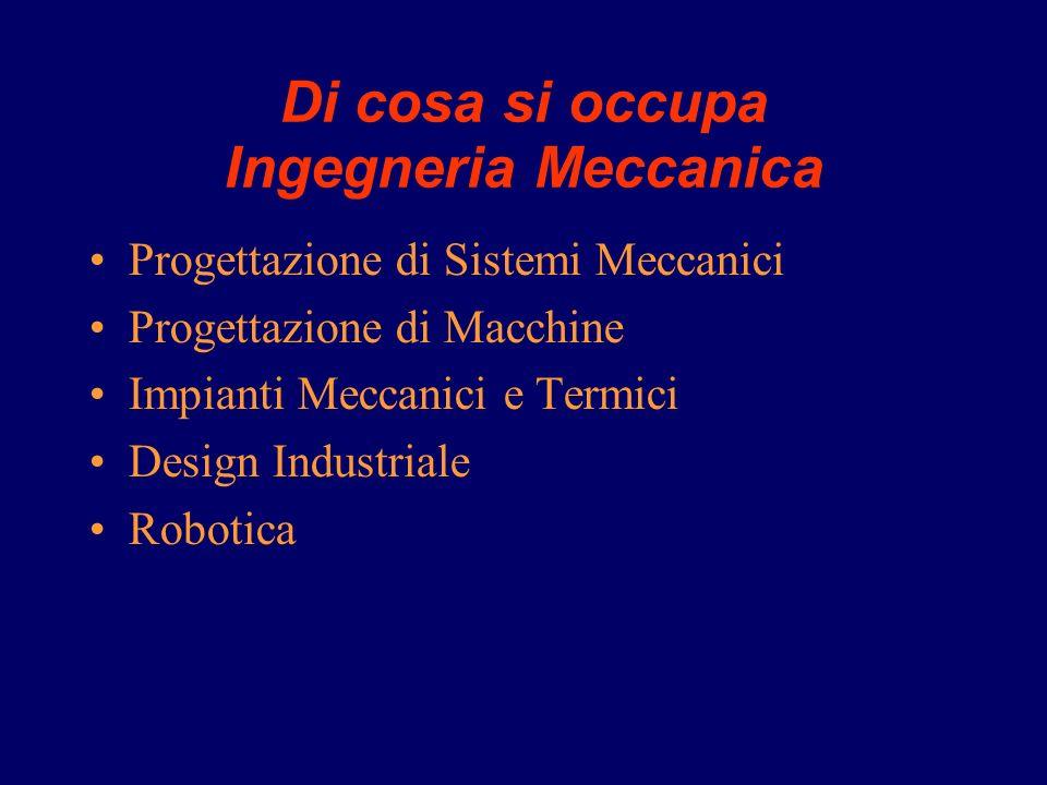 Di cosa si occupa Ingegneria Meccanica Progettazione di Sistemi Meccanici Progettazione di Macchine Impianti Meccanici e Termici Design Industriale Robotica