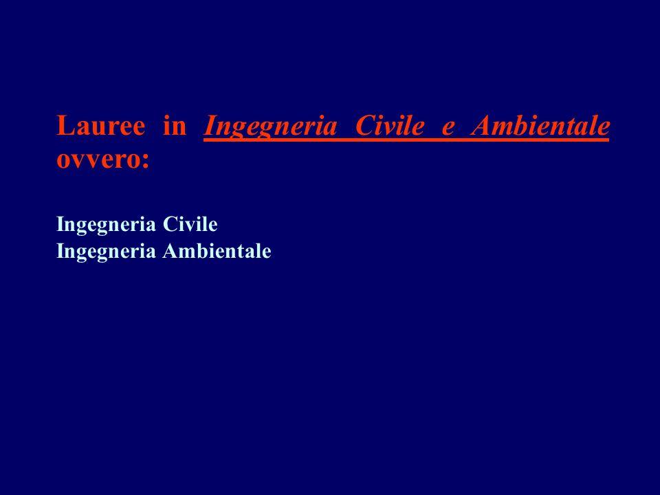 Lauree in Ingegneria Civile e Ambientale ovvero: Ingegneria Civile Ingegneria Ambientale